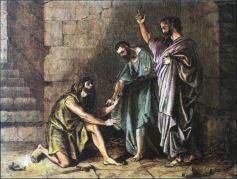 The Philippian jailer trembling before Paul and Silas