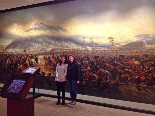 Freaya and Haley in front of the painting.