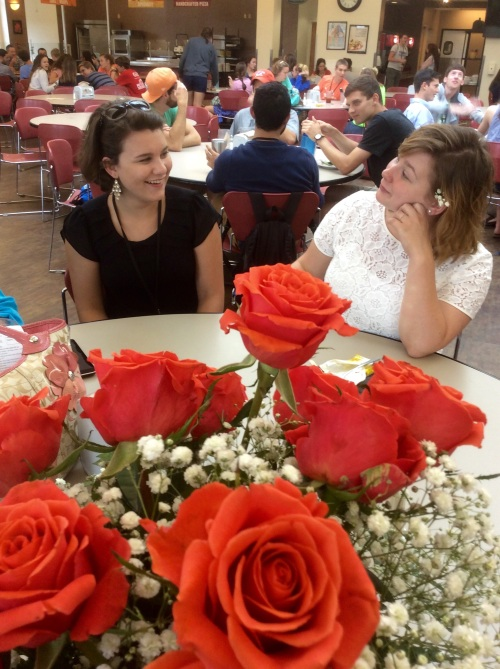 Celebrating the b-day at Summit @ Bryan College. We brought roses :-) Katie, is on the right.